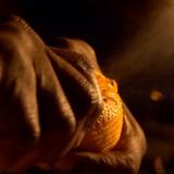 Keba Konte zesting an orange in slow motion